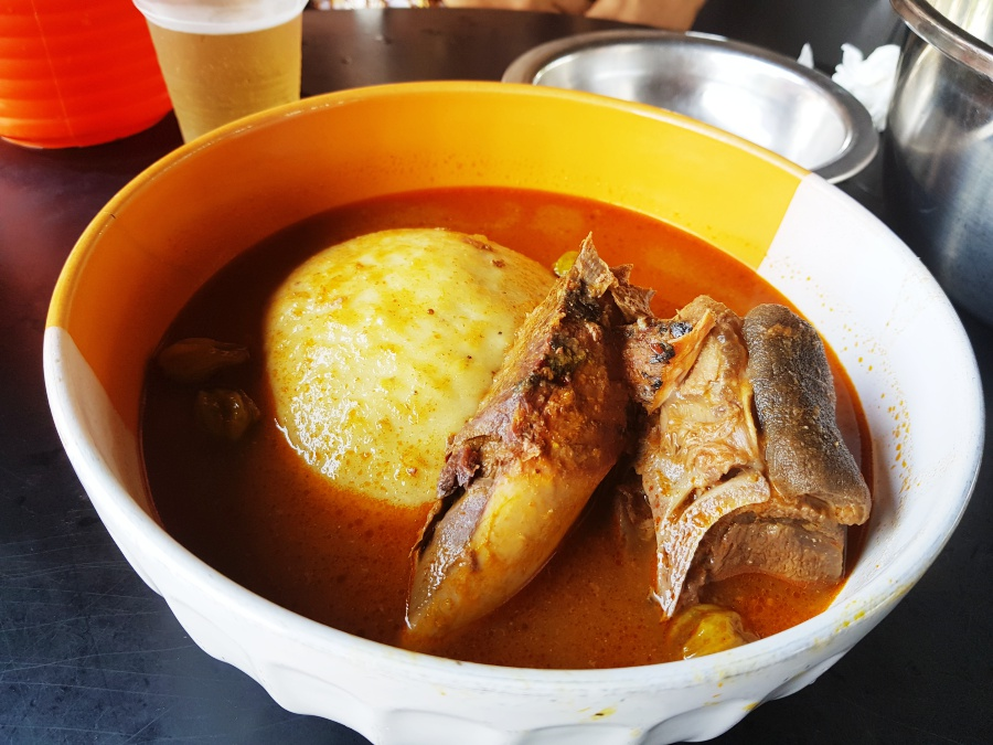 Fufu with goat meat and Tuna for starters