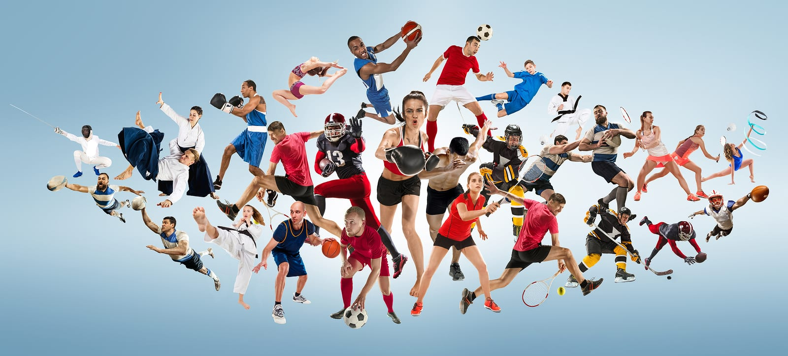 Sport collage featuring people doing kickboxing, soccer, american football, basketball, ice hockey, badminton, taekwondo, aikido, tennis, rugby players and gymnast isolated on blue background