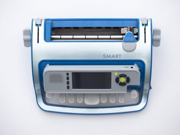 SMART Brailler top view displaying all elements of the device