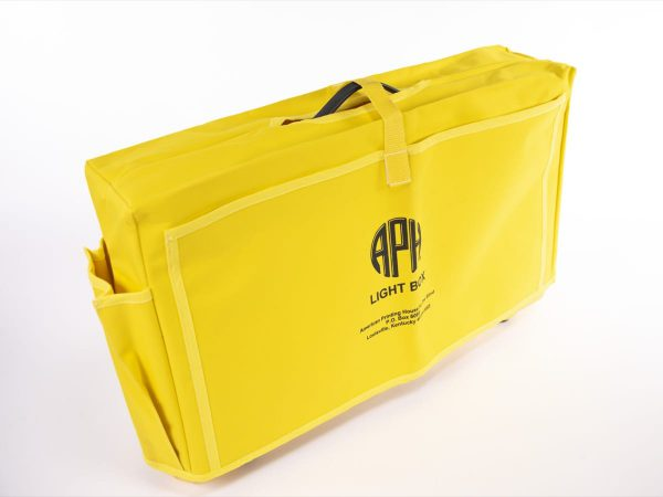 Angled to the right, front view of Light Box carry case