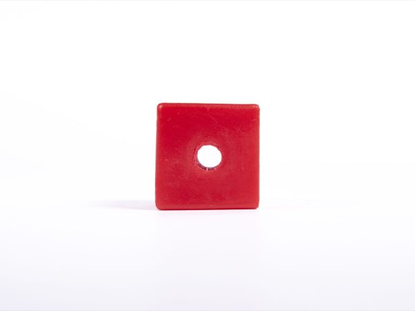 Giant Texttured Beads Red Cube with Hole