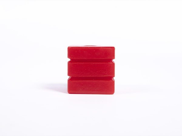 Giant Textured Beads striped red cube