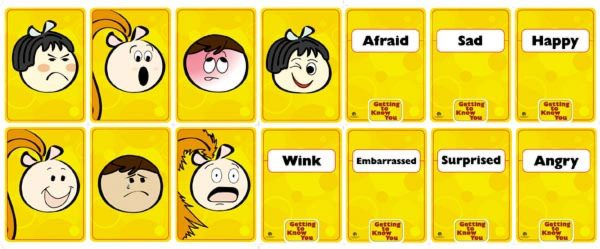 Facial Expression Cards from Getting to Know You. 7 show faces and 7 show words.