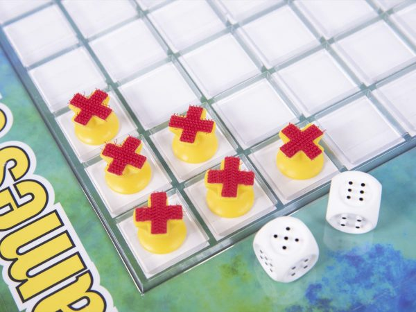 Games of Squares 8x8 grid board, dice, and X/O game tokens with hook and loop material