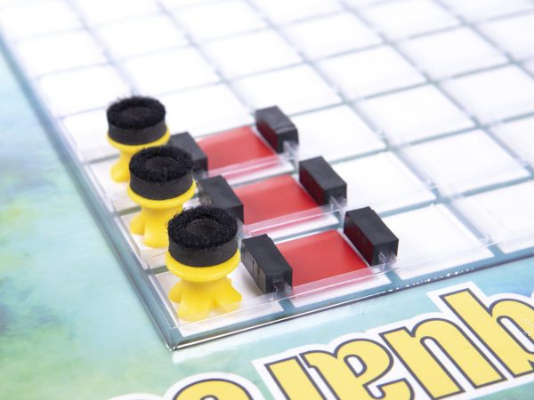 Black U Channels, Red Masking Overlays, and X/O Tokens with Crown O foam pieces from Games of Squares kit