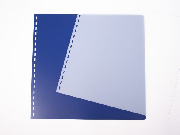 Royal Blue and Clear Frosted Covers for Braille Documents