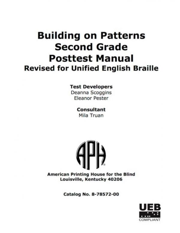 Building on Patterns Second Grade Posttest Manual