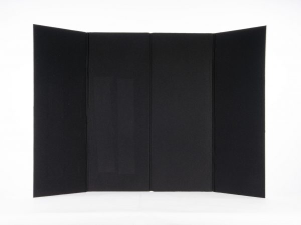 Large black board unfolded and stood up on a surface