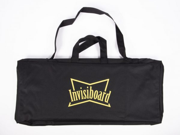 Black case with shoulder strap and handles displaying the Invisiboard logo in yellow