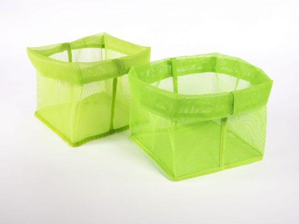 two green mesh baskets