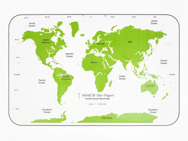 World At Your Fingers map has green land area and white for water areas