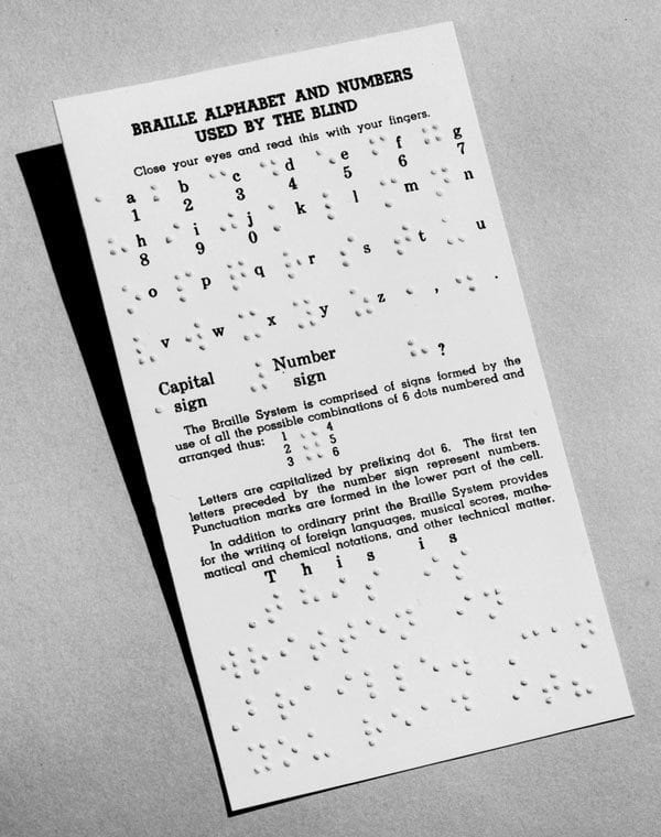 Braille Alphabet and Numbers Card