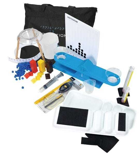 Adapted Science Materials Kit including a carry-all tote bag, histogram board, balance, graduated cylinders, sorting trays, thermometer, syringe, standard mass pieces, beakers, meter tape, and funnel stand