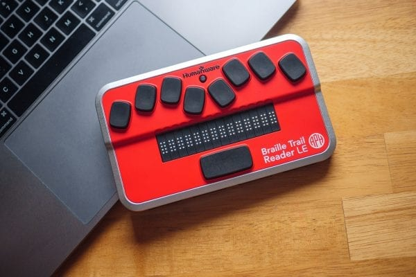 Braille Trail Reader with laptop