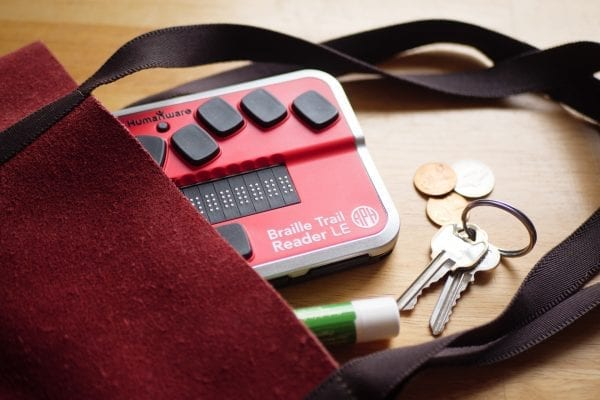 Braille Trail Reader with purse
