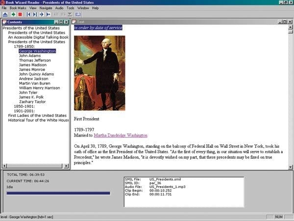 Screenshot of Book Wizard Reader showing the Contents, Text, and Audio views.