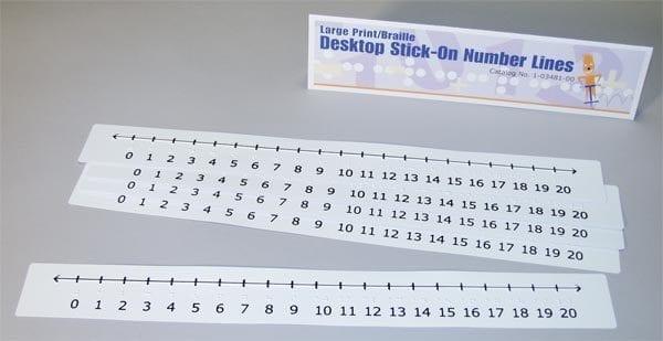 Desktop Stick-On Number Lines: Large Print-Braille (5-pack)