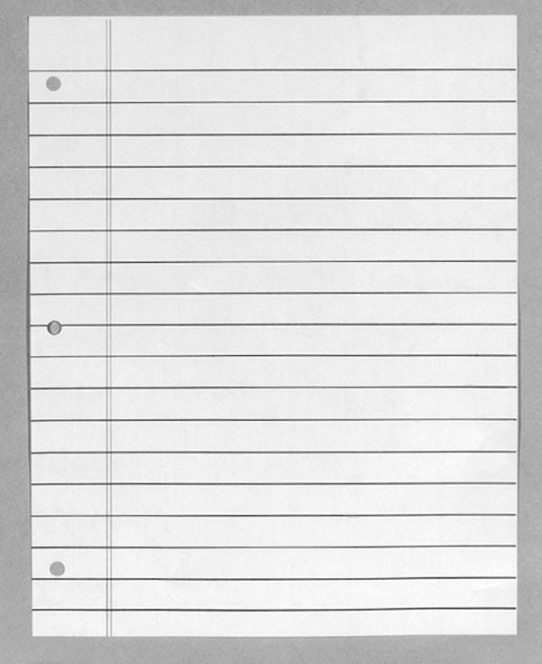 Bold Line Notebook Paper: Padded: 9-16 Inch Line Spacing