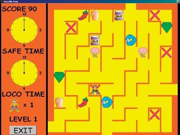 Screenshot showing Armadillo Army maze.