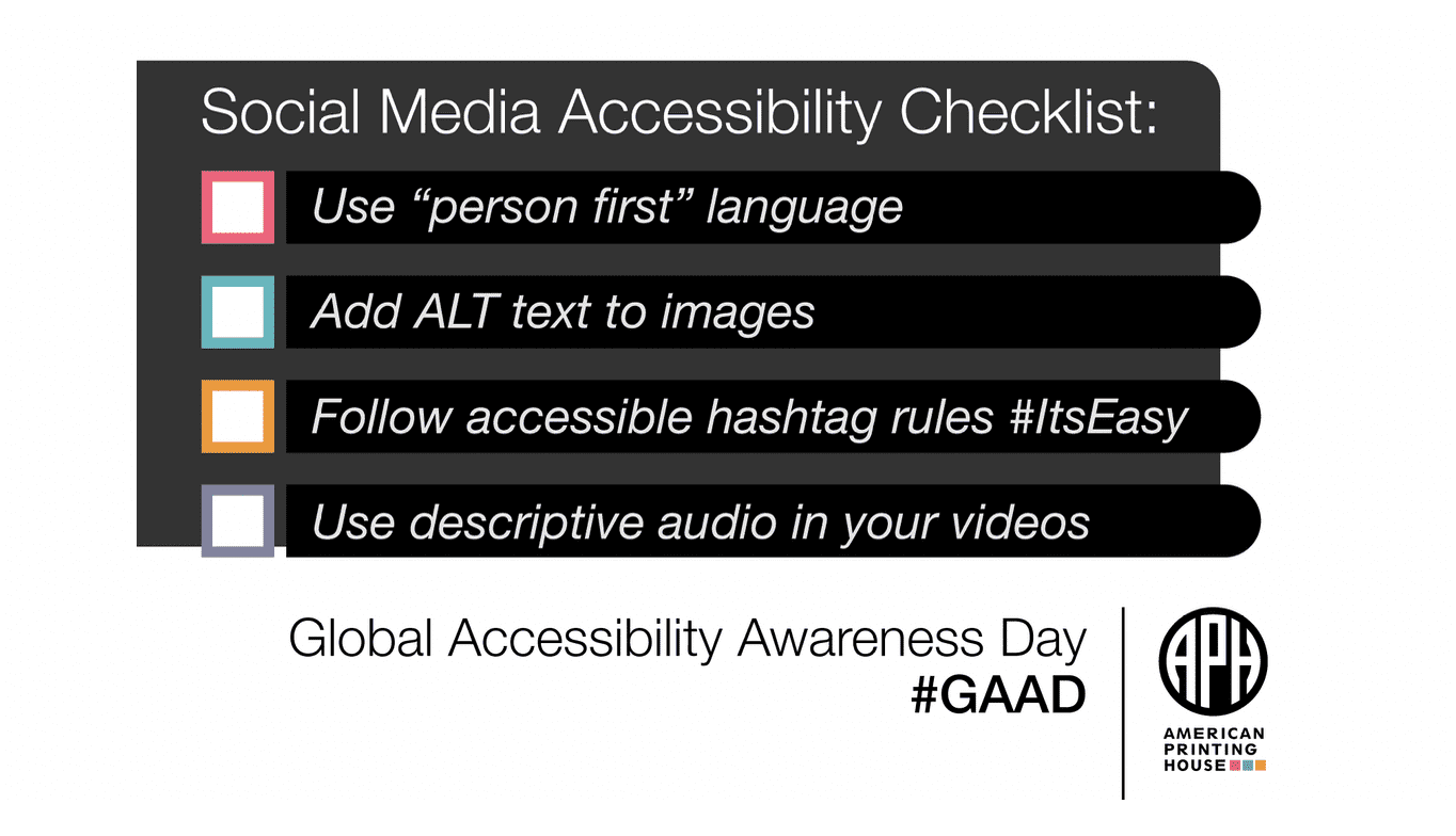 Graphic for the Social Media Accessibility Checklist, information found in blog