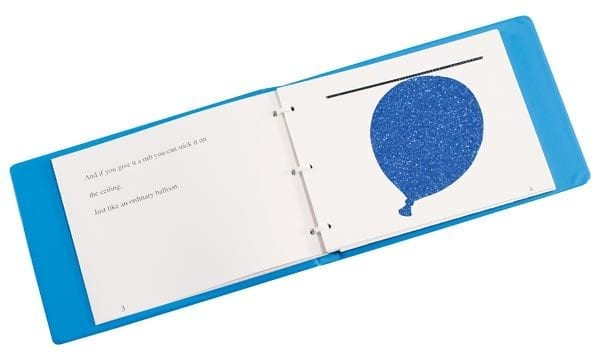 Blue Balloon three ring bound book open