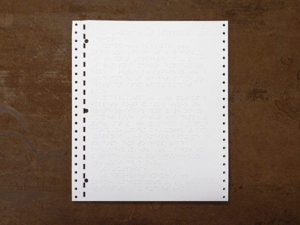 White Fanfold Tractor Feed Braille Transcribing Paper
