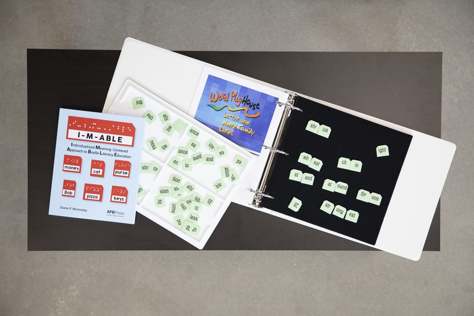 a sample of the contents of the kit including book, tray, binder, felt board, and velcro braille syllables