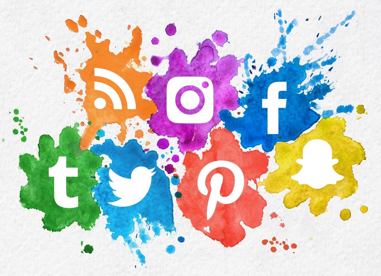a variety of social media symbols