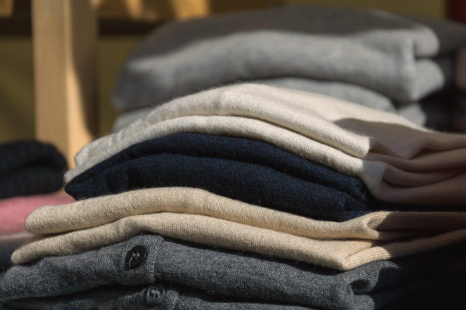 A pile of neatly folded clothing