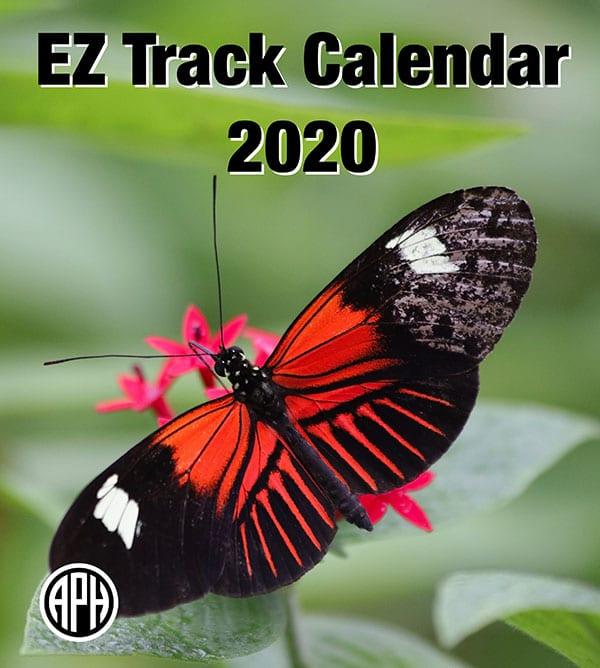 The cover of the EZ Track Calendar features a black and red butterfly