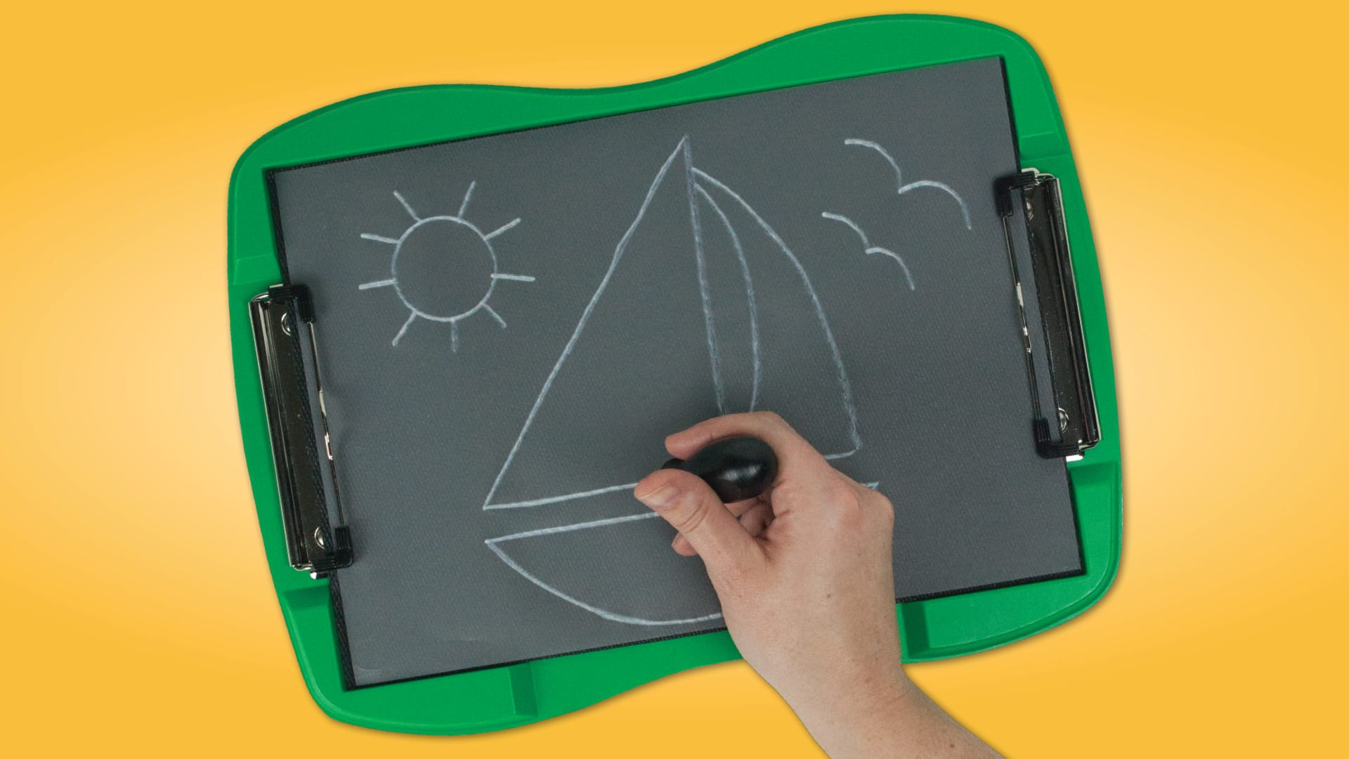 green tactile doodle frame, back body, white lines showing the tactile drawing of a sailboat. a hand holds the stylus.
