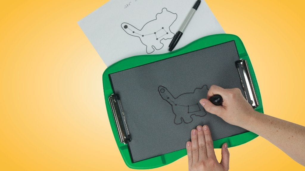 green tactile doodle frame, back body, white lines showing the tactile drawing of an animal, a hand holds the stylus. Image that was traced lies above.