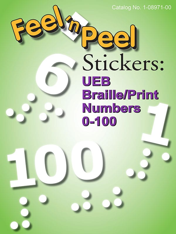 Feel 'n Peel Stickers: UEB Braille/Print Numbers 0-100