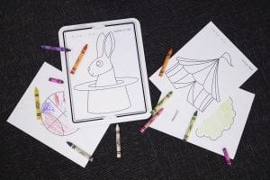 circis coloring pages with crayons on the texture mat