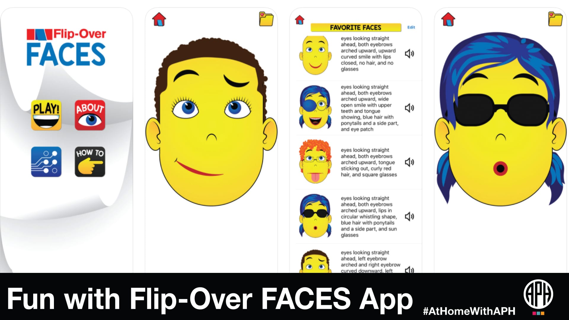 "screen grabs of the Flip-Over FACES app including examples of the facial expressions that can be made. Text reads ""Fun with Flip-Over FACES App #AtHomeWithAPH"