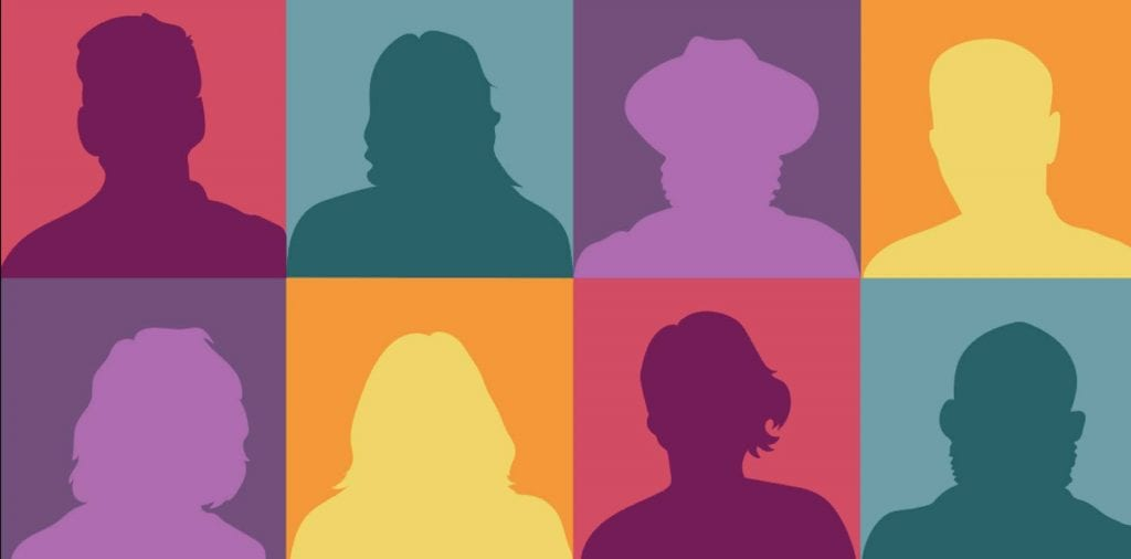 Change maker banner silhouette of people in colored square backgrounds