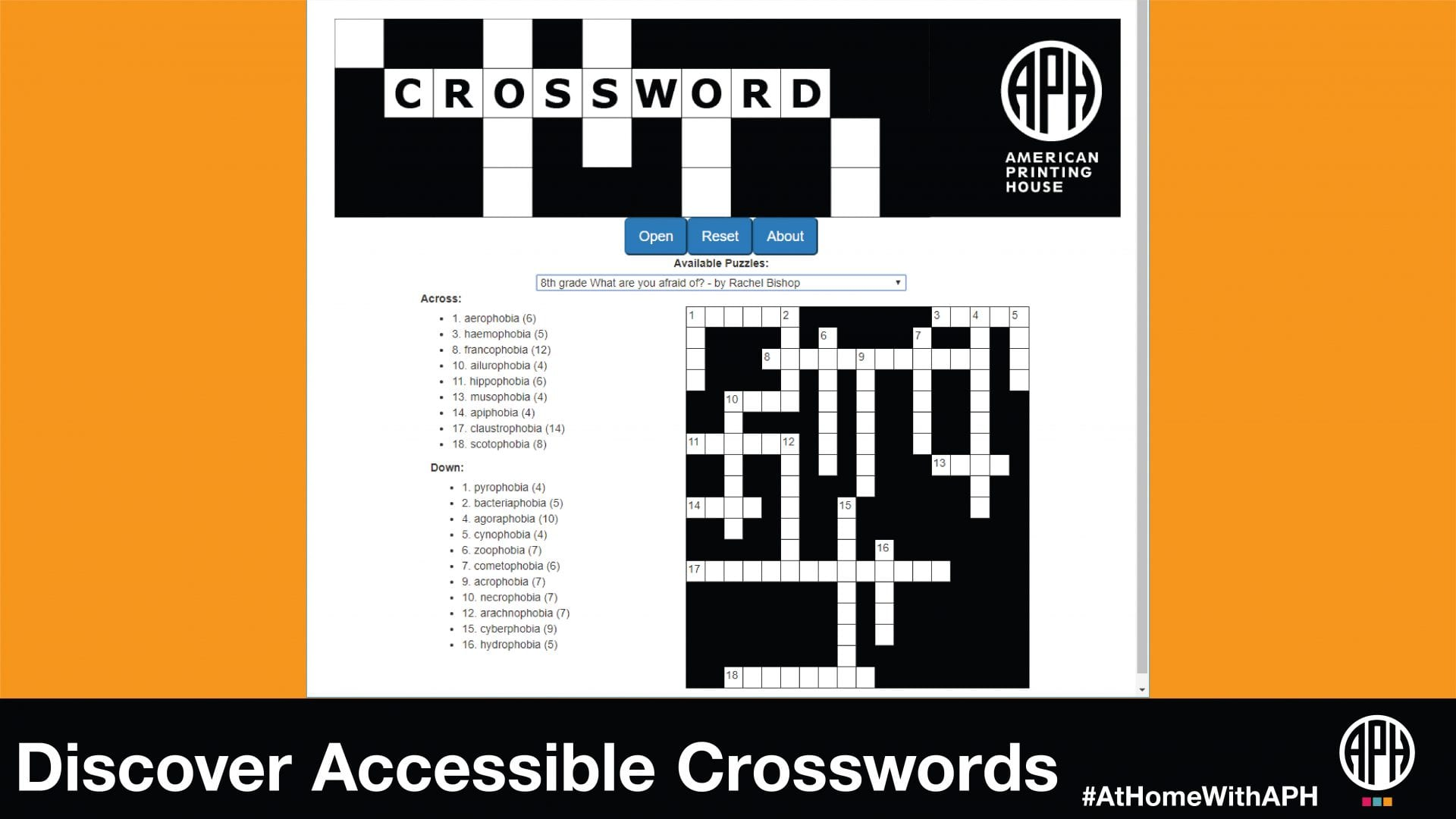 a screenshot of the APH crossword web app