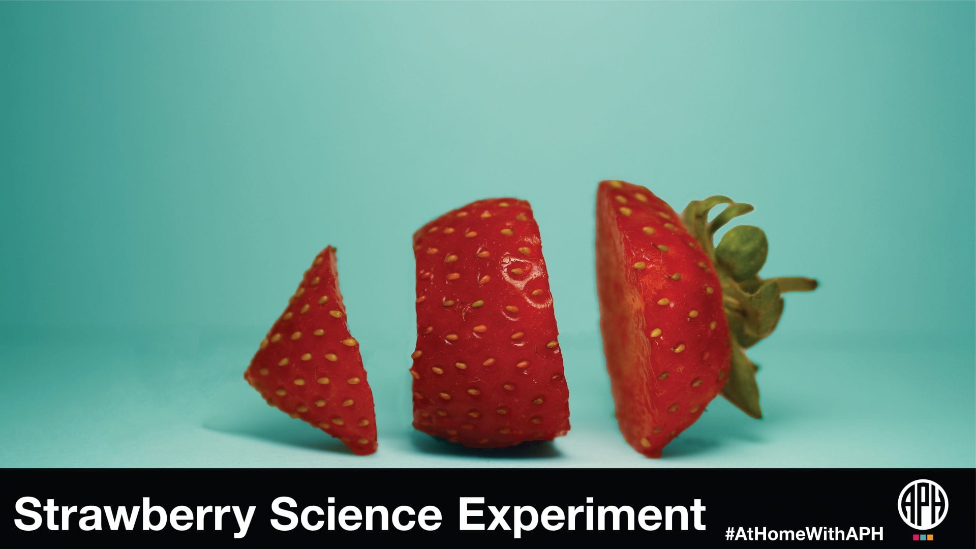 "image of a strawberry sliced on a blue background. text reads ""Strawberry Science Experiment #AtHomeWithAPH"""