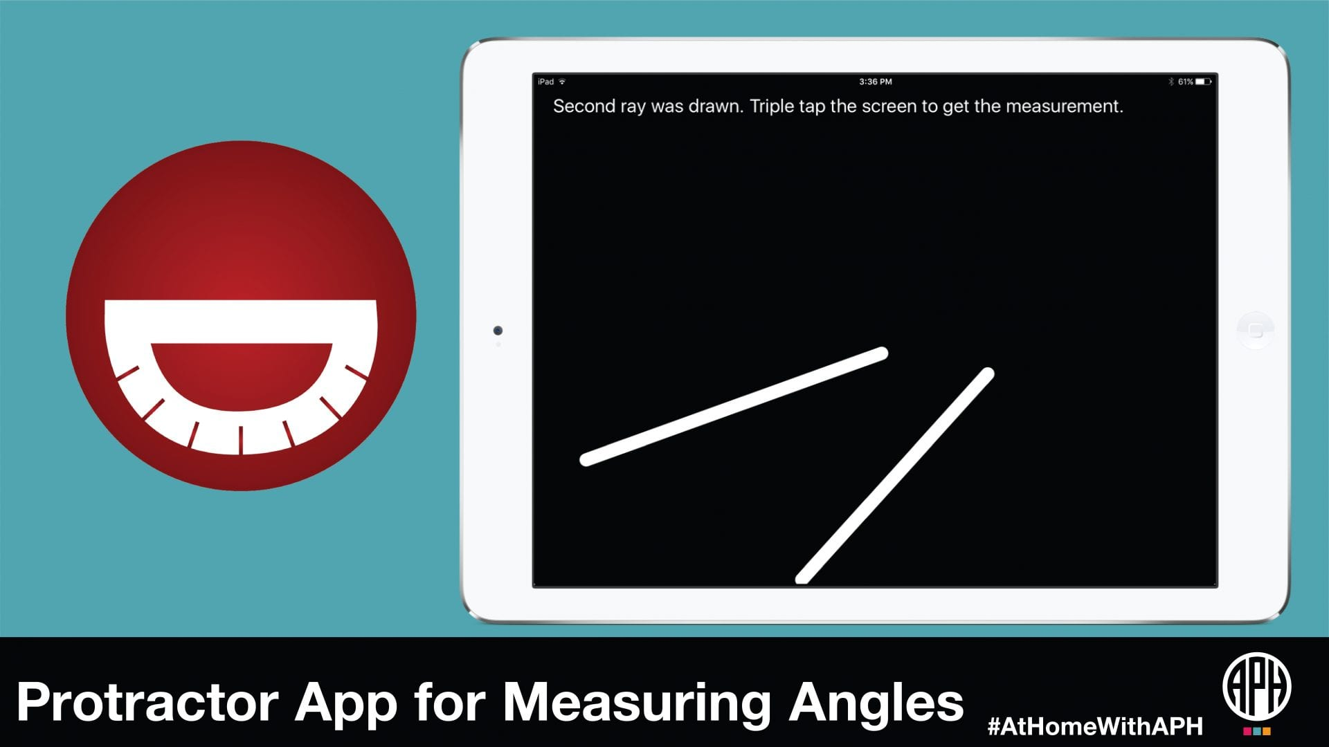 "a graphic of he Draw2Measure logo and an illustration of a tablet. text reads ""Protractor App for Measuring Angles #AtHomeWithAPH"""