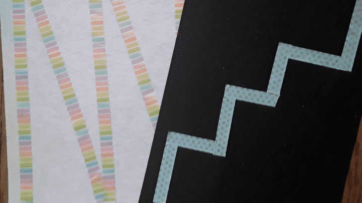 two pieces of paper with tape in different zig zag and stair step patterns on them