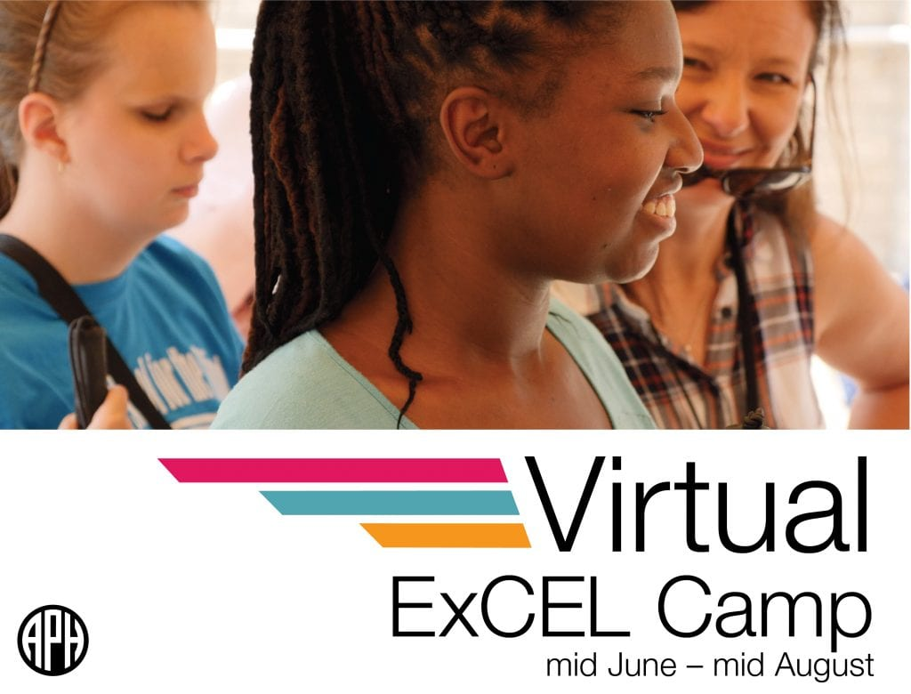 """two teenage students and an adult smiling, text reads """"Virtual ExCEL Camp. mid June-mid August"""