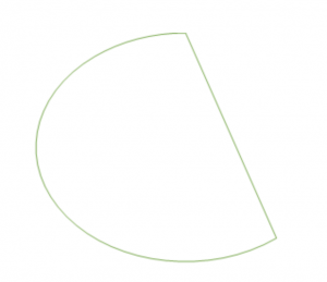 a circular shape with one end blunted to a straight line