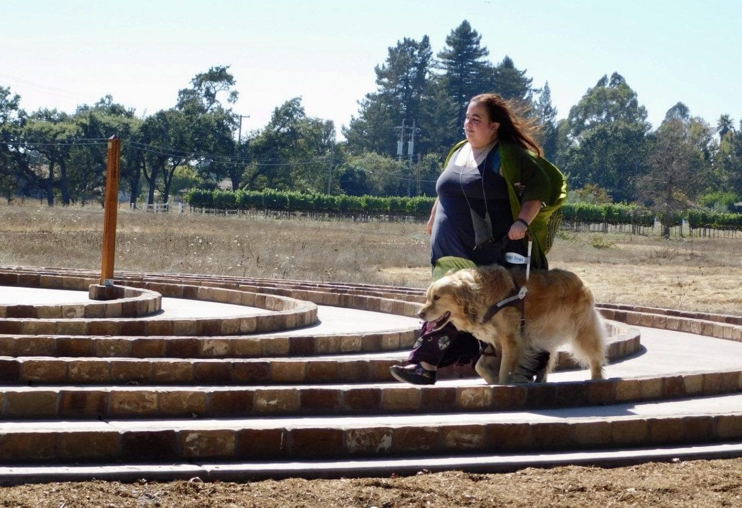 Maia walking through a stone labyrinth outside with her guide dog