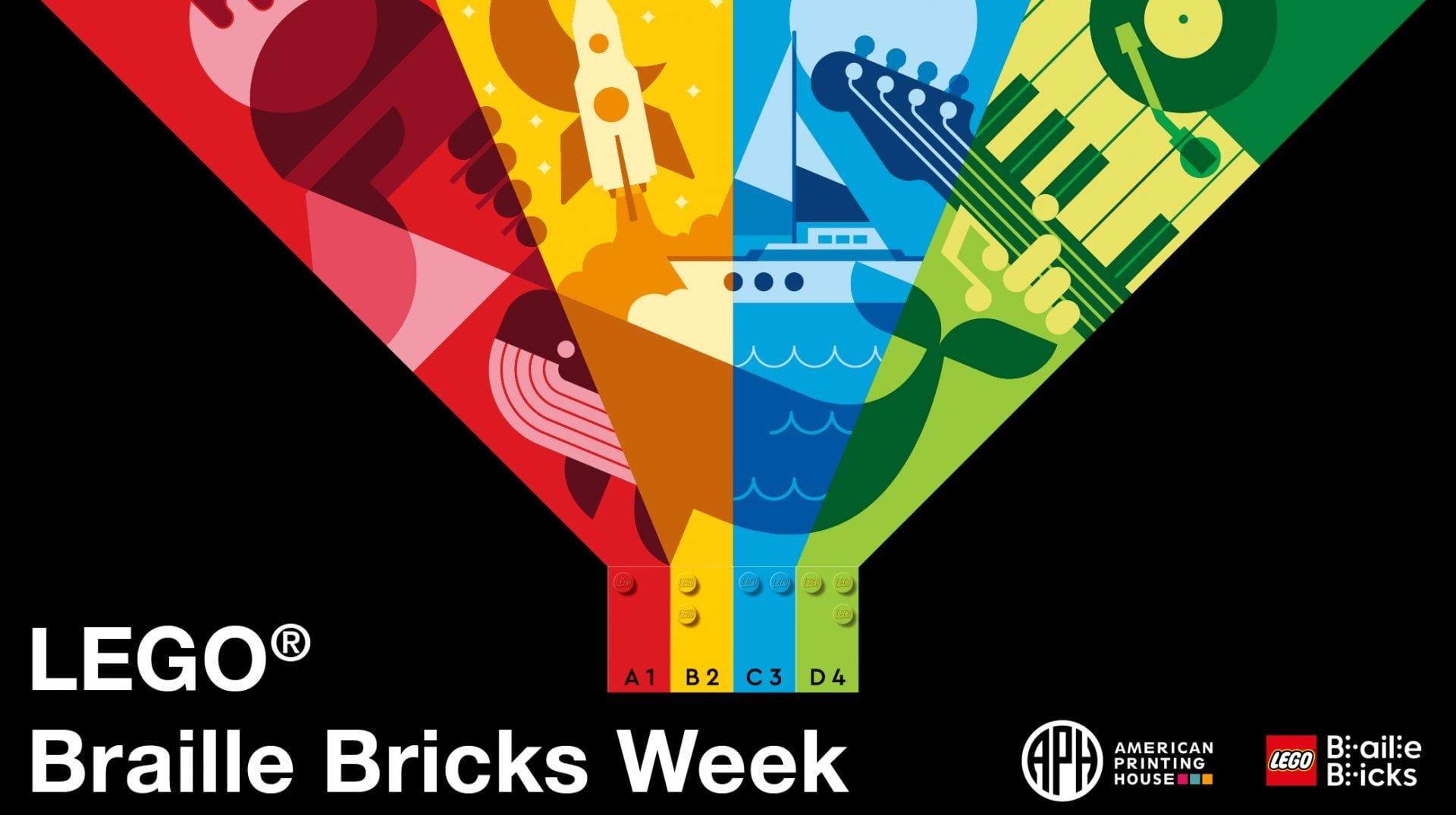 "a design consisting of 4 LEGO braille bricks in red, yellow, blue, and green, from the legos, rays of the corresponding colors shine out like a light house. in the rays are a variety of objects like an ice cream cone, a guitar, a whale, a sail boat, and a rocket ship. text reads ""LEGO Braille Bricks Week"" APH logo, LEGO Braille Bricks logo"