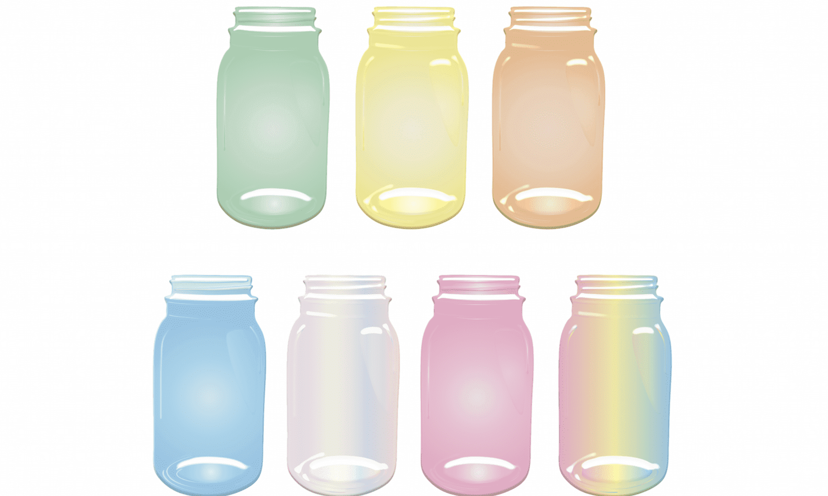 illustrations of mason jars in a variety of colors including green, yellow, orange, pink, and blue