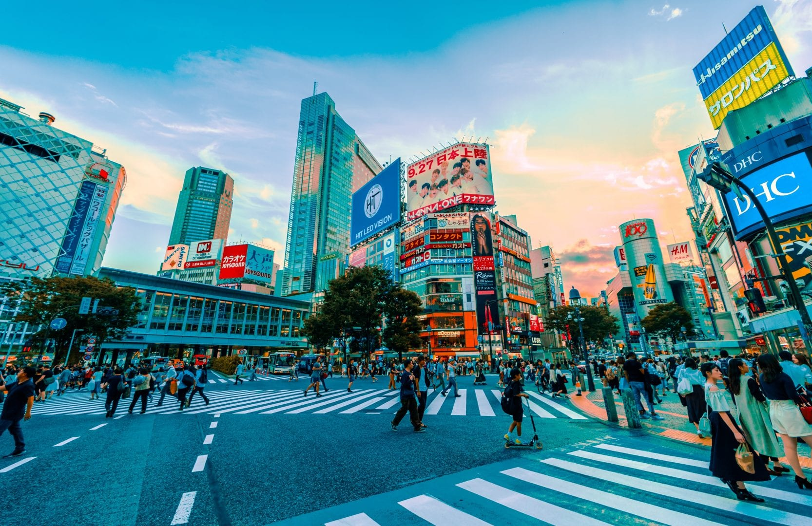 busy tokyo street with pedestrians