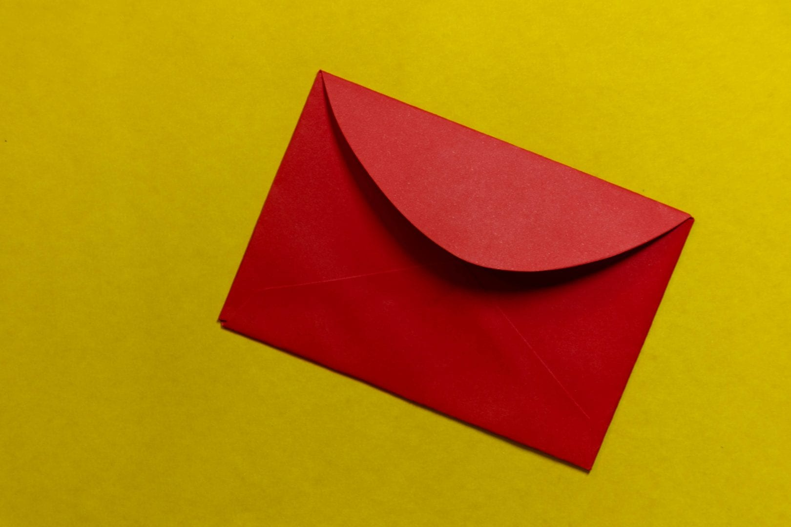 a red envelope on a yellow background