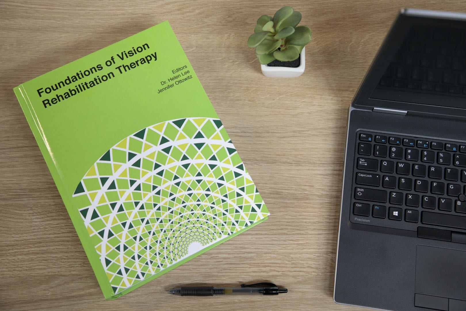 "a green book titled ""Foundations of Vision Rehabilitation Therapy"" lays on a table top next to a plant, pen, and laptop computer"