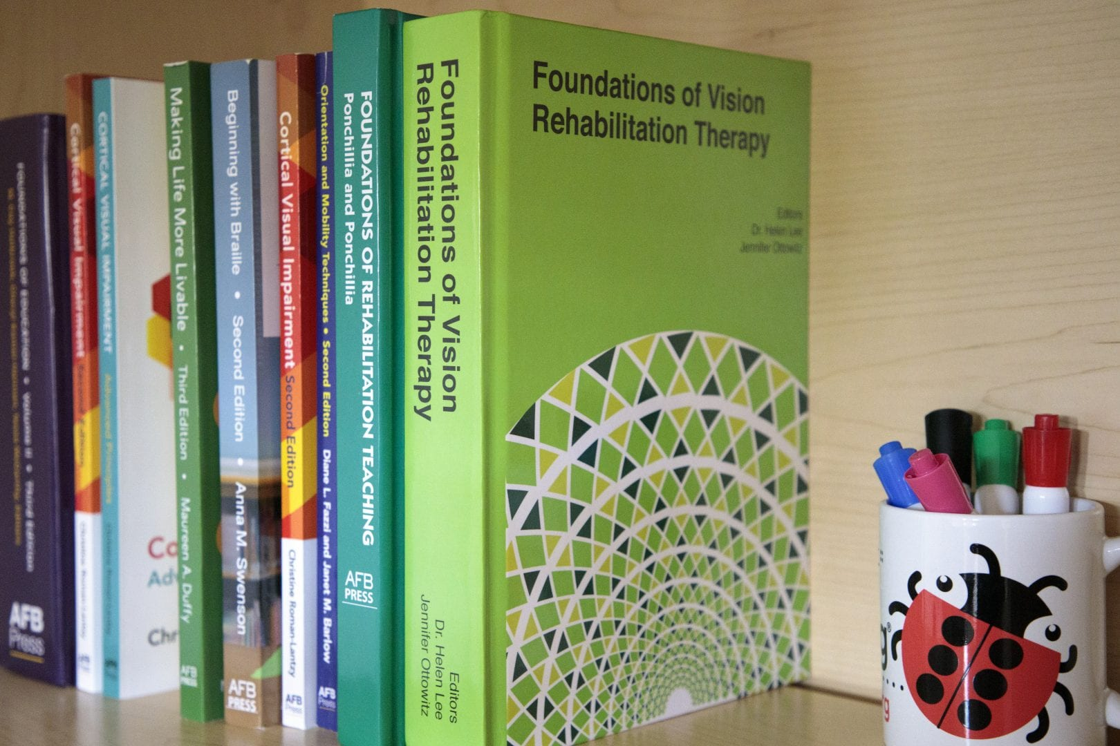 the new foundations of vision rehabilitation therapy book on a shelf with other text books
