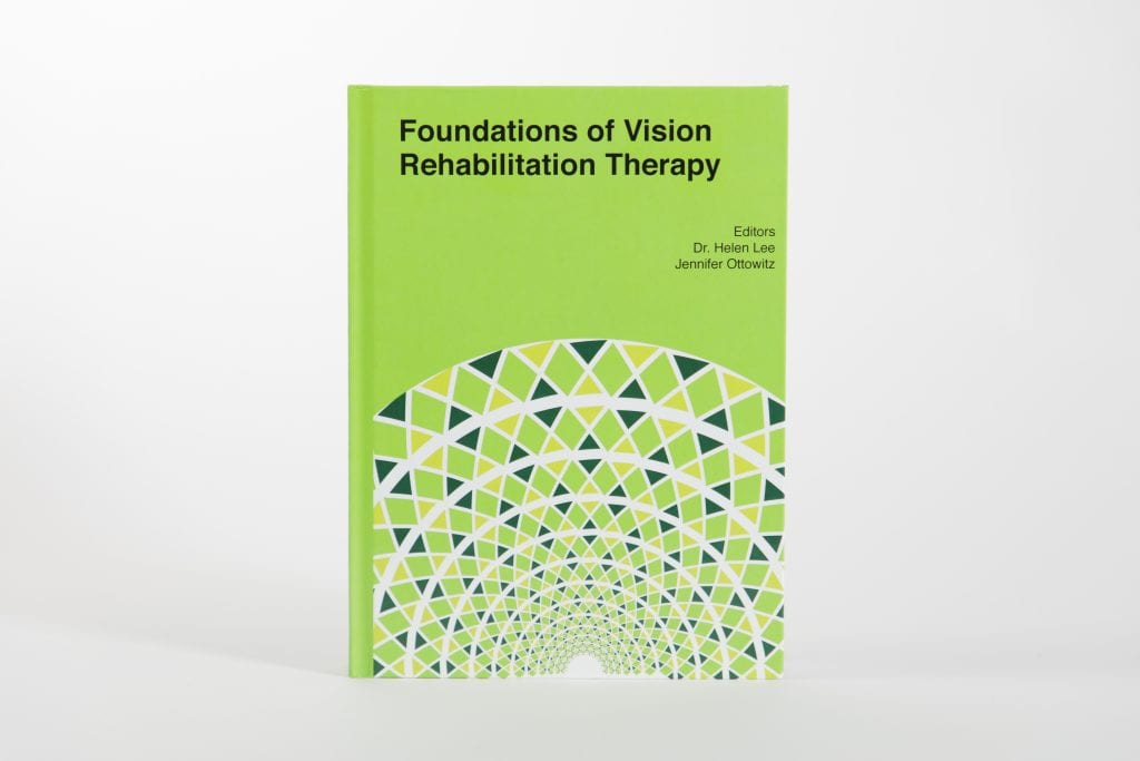 """the bright green cover of the second edition book titled """"Foundations of vision Rehabilitation therapy"""""""